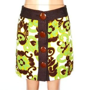 Milly Brown & Green Floral Button Up Mini Skirt